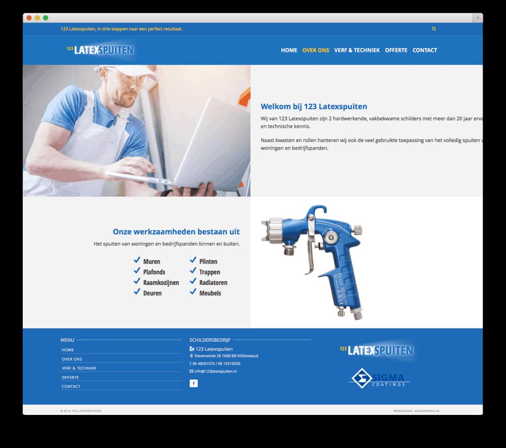 123 Latexspuiten website voorbeeld