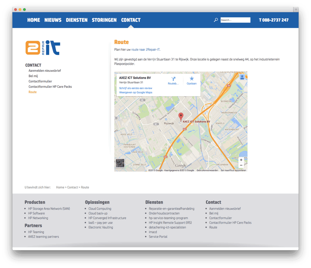 2Repair-IT website voorbeeld