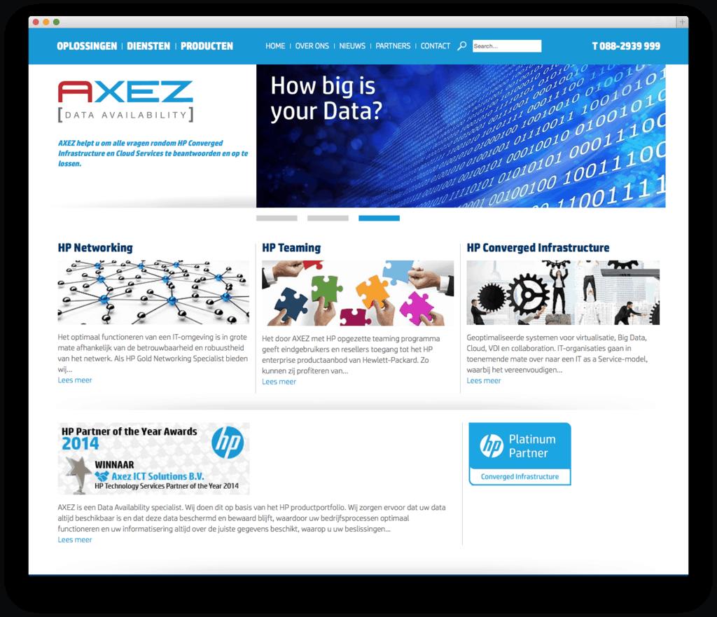 Axez Data Availability website voorbeeld