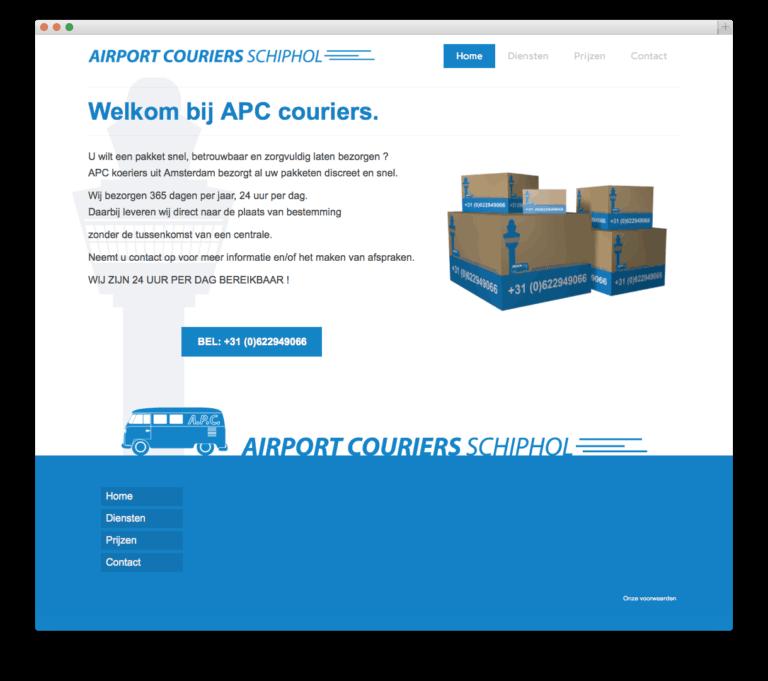 Airport Couriers website voorbeeld