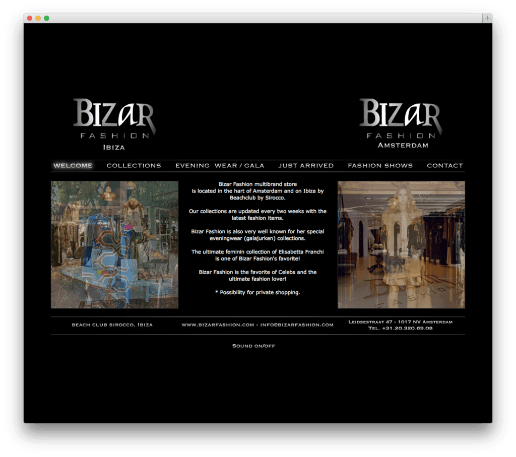 Bizar Fashion website voorbeeld