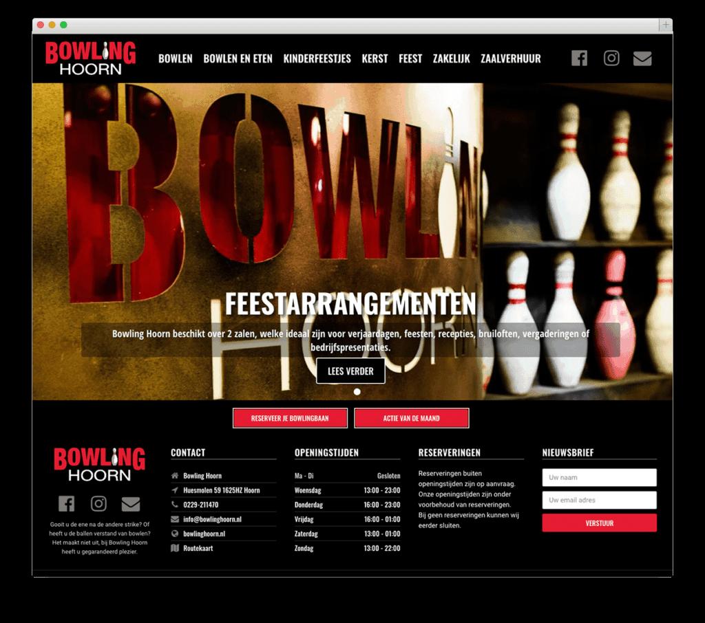 Bowling Hoorn website voorbeeld