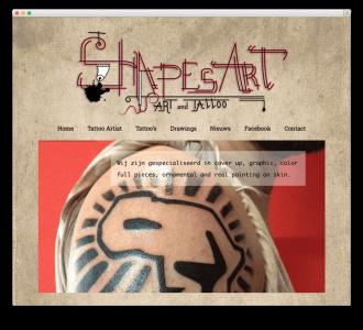 Tattoo studio & art gallery website voorbeeld
