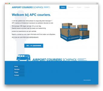Airport Couriers website voorbeeld