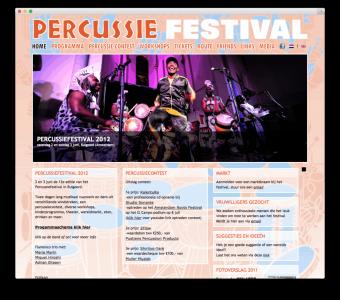 Percussie Festival website voorbeeld