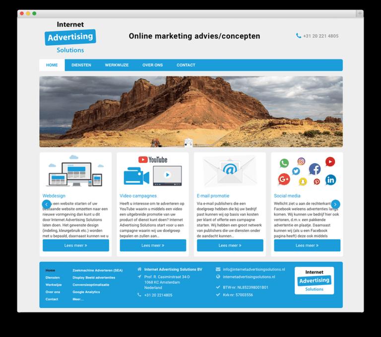 Internet Advertising Solutions BV website voorbeeld