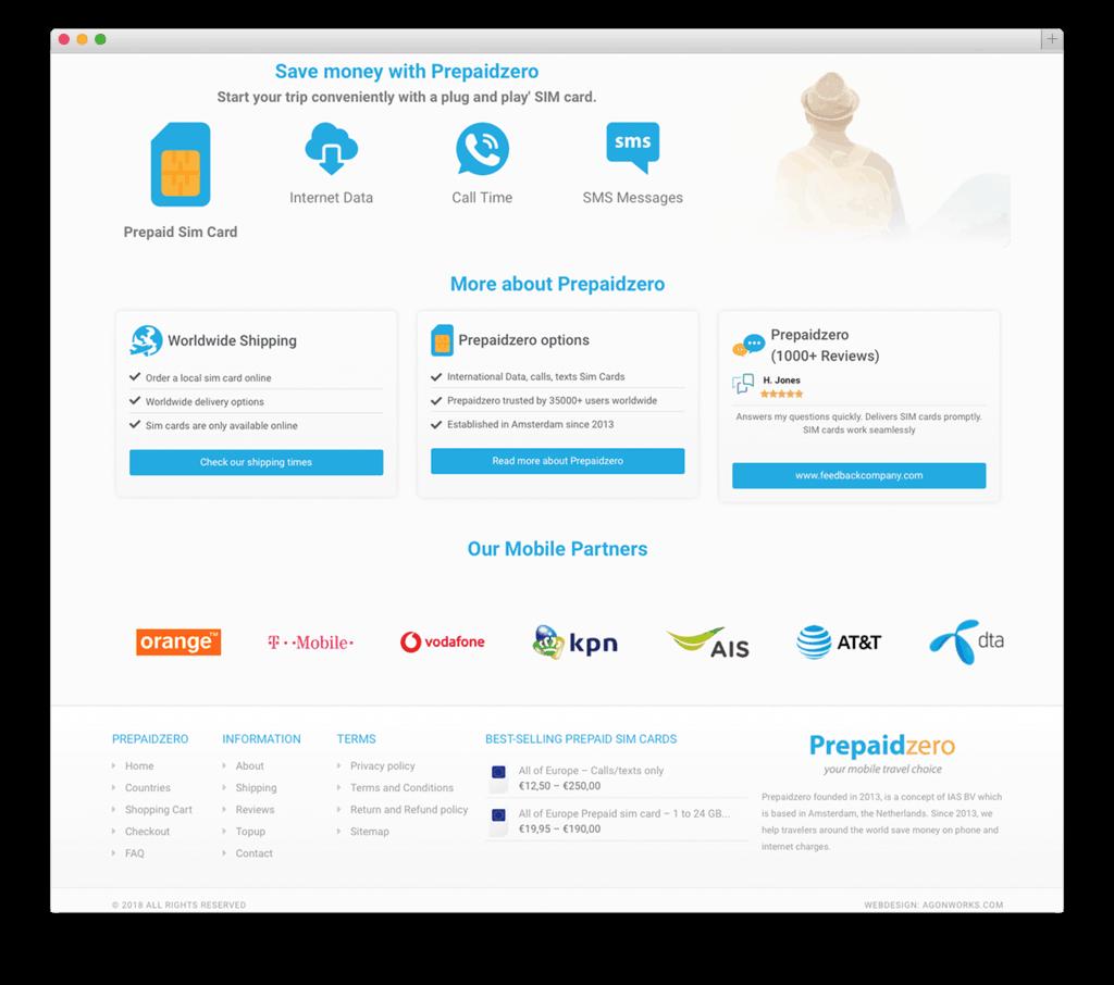 Prepaidzero website voorbeeld