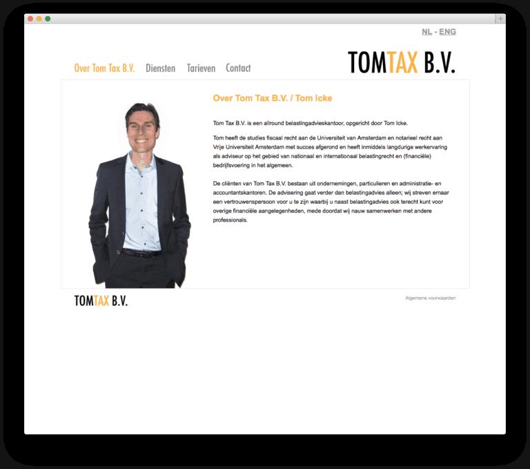 Tom Tax B.V. website voorbeeld