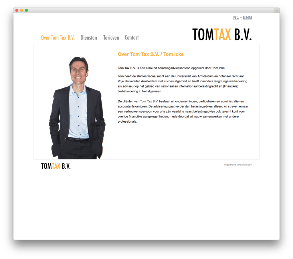 Tom Tax B.V. website voorbeeld